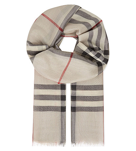 BURBERRY Giant check metallic silk & wool scarf (Stone