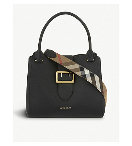 BURBERRY Buckle medium grained leather tote (Black