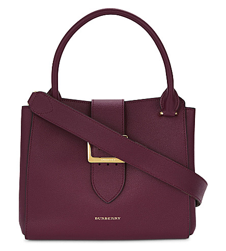 BURBERRY Buckle medium leather tote (Dark+plum