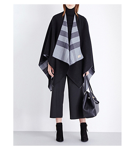 BURBERRY Check reversible wool cape (Charcoal