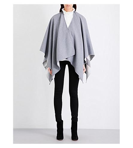 BURBERRY Charlotte reversible Merino wool cape (Light+grey