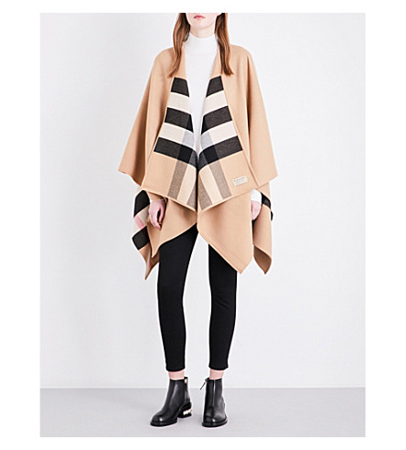 BURBERRY Charlotte reversible wool cape (Camel