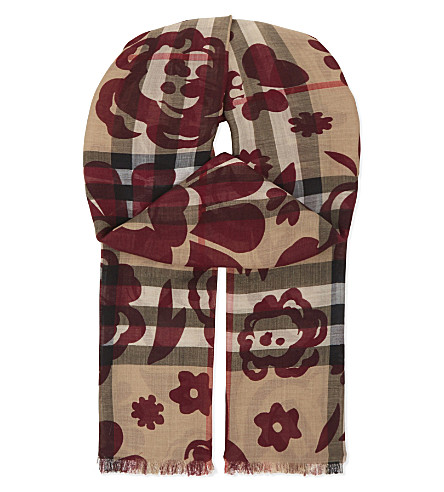BURBERRY Check floral wool-silk scarf (Crismon