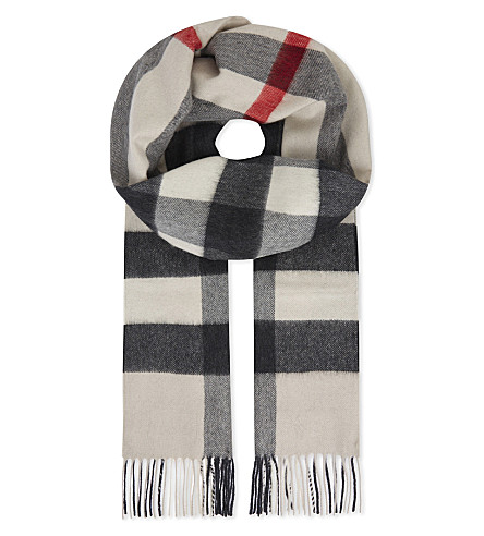 BURBERRY House check cashmere scarf (Stone