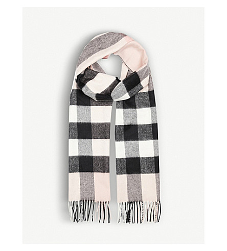 BURBERRY Half Mega Check cashmere scarf (Ash+rose
