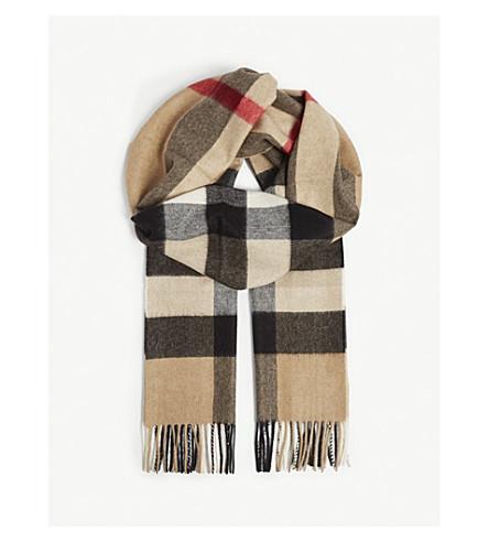 BURBERRY Half Mega Check cashmere scarf (Camel