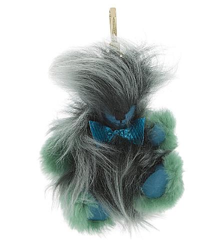 BURBERRY Thomas bear shearling & cashmere charm (Dark aqua