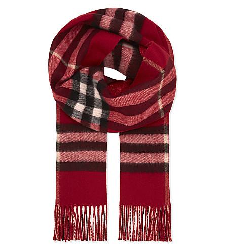 BURBERRY Metallic check cashmere-blend scarf (Parade+red