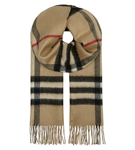 BURBERRY Metallic checked reversible cashmere scarf (Camel
