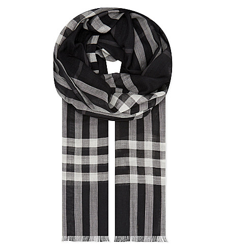 BURBERRY Giant check print wool-silk blend scarf (Black