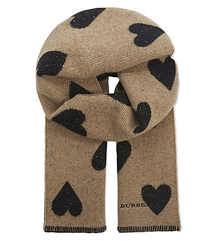 BURBERRY Heart wool-blend scarf (Camel