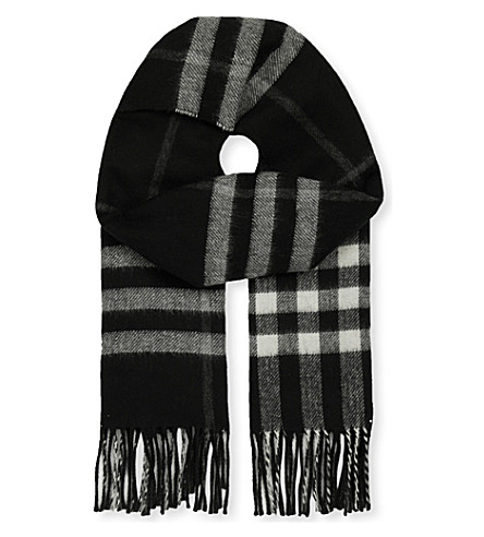 BURBERRY Giant check cashmere-blend metallic reversible scarf (Black
