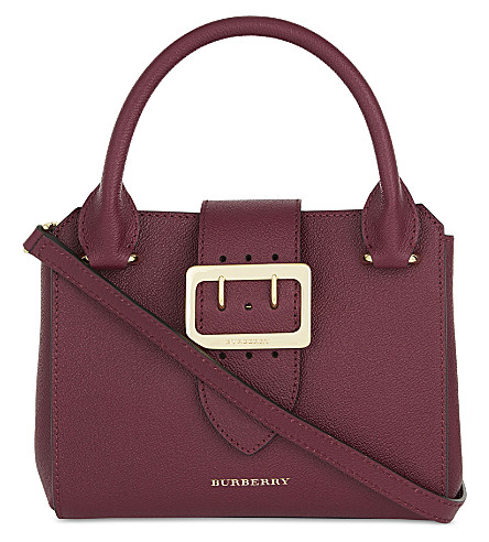 BURBERRY Small buckled leather shoulder bag (Dark+plum