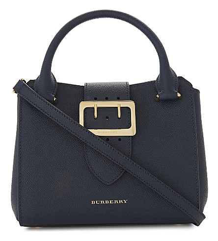 BURBERRY Small Buckle Tote bag (Blue+carbon