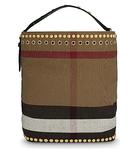 BURBERRY The Medium Ashby studded bucket bag (Black