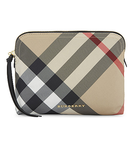BURBERRY Checked medium pouch (Camel