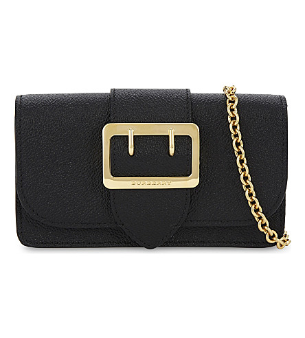 BURBERRY Buckle small leather cross-body bag (Black