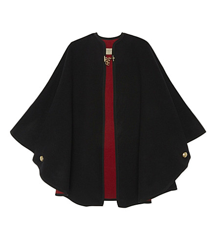 BURBERRY Double-faced wool & cashmere cape (Black red