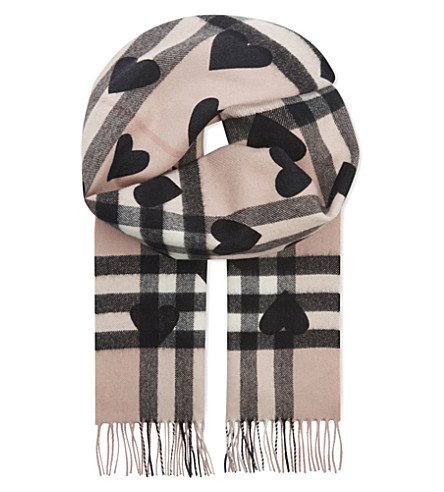 BURBERRY Heart and check cashmere scarf (Ash+rose