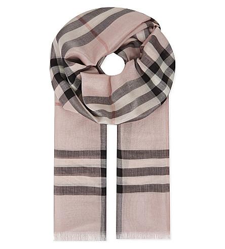 BURBERRY 金属检查丝混纺围巾 (灰 + 玫瑰