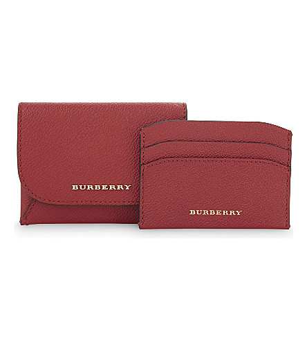 BURBERRY Mayfield small grained leather card case (Parade+red