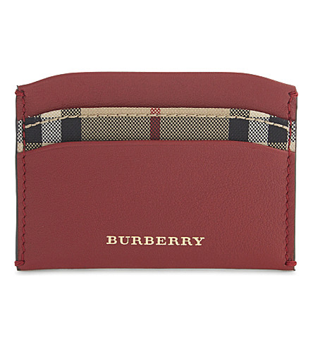 BURBERRY Izzy horseferry leather card holder (Parade+red