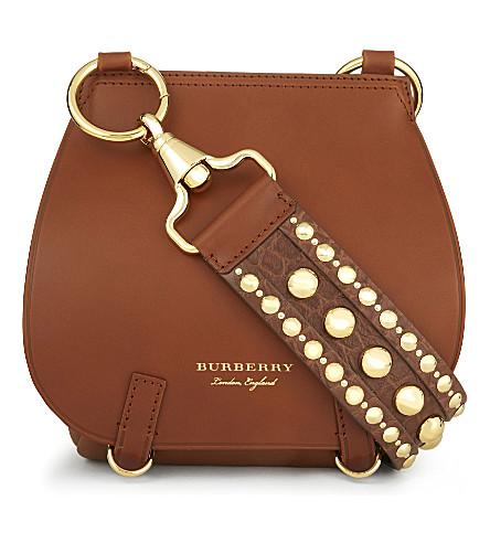 BURBERRY Studded strap leather shoulder bag (Tan