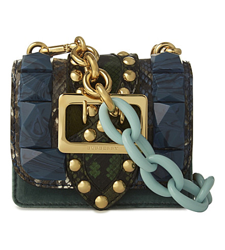 BURBERRY Gemstone-studded pony-hair and leather cross-body bag (Pale opal blue