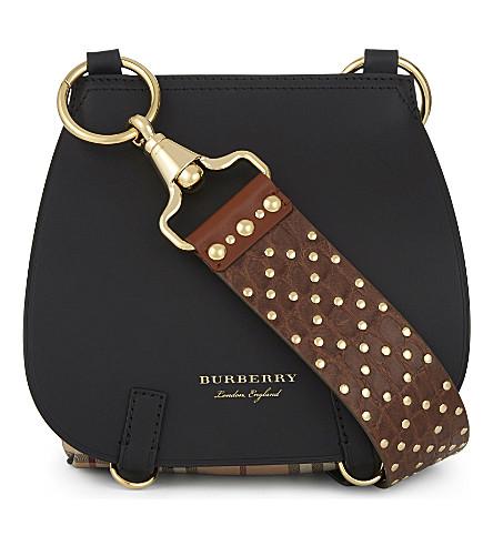 BURBERRY Studded-strap leather shoulder bag (Black