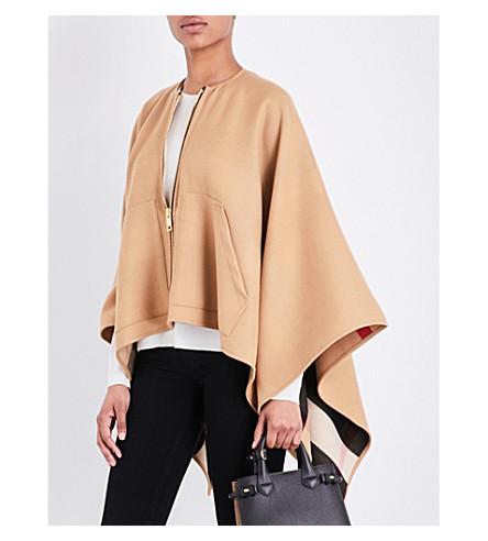BURBERRY Zip-up merino wool cape (Camel