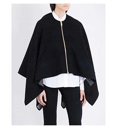 BURBERRY Extra fine merino wool cape (Black