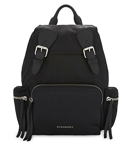 BURBERRY Logo nylon backpack (Blk+blk