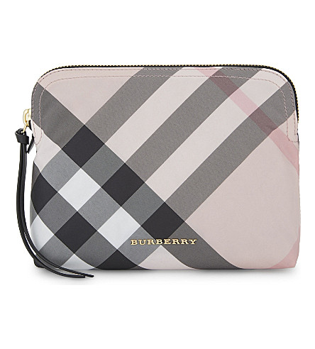 BURBERRY Burb nylon check pouch (Ash+rose