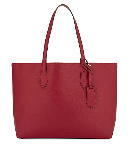 BURBERRY Haymarket check medium reversible leather tote (Poppy+red