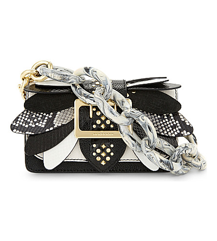 BURBERRY Small Buckle Wings snakeskin, ostrich skin and calf leather shoulder bag (Black white