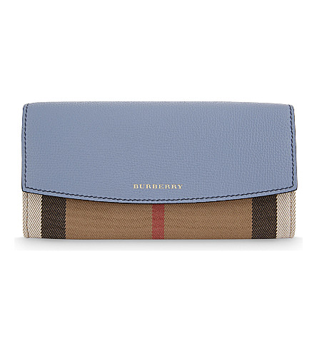 BURBERRY Porter House check canvas and leather continental wallet (Slate blue
