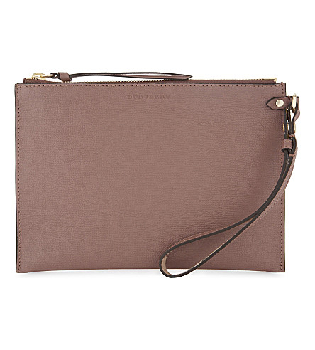 BURBERRY Leather wrist pouch (Light+elberberry