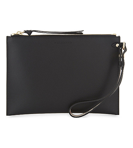 BURBERRY Leather wrist pouch (Black