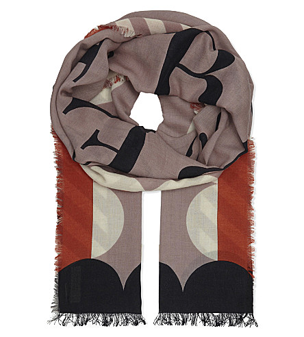 BURBERRY Logo modal-blend scarf (Dusty+pink
