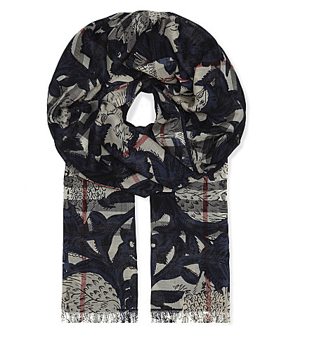 BURBERRY Beast print wool and silk-blend scarf (Storm+blue