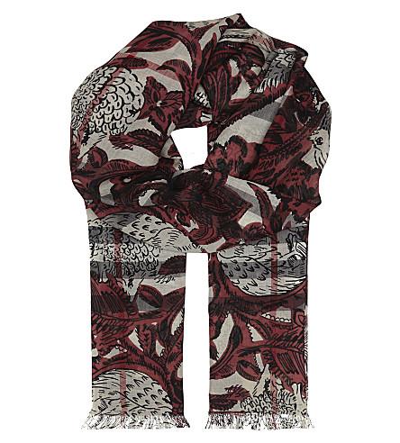 BURBERRY Beast print wool and silk-blend scarf (Pink+azalea