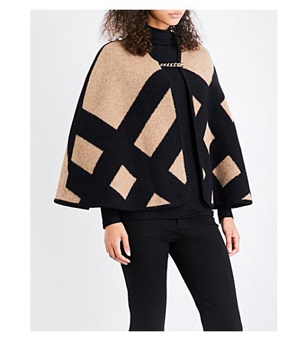 BURBERRY Wool-cashmere blend blanket cape (Camel+black