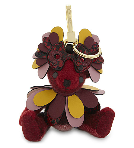 BURBERRY Thomas bear cashmere keyring (Parade+red