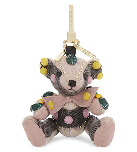 BURBERRY Thomas Bear cashmere keyring (Ash+rose