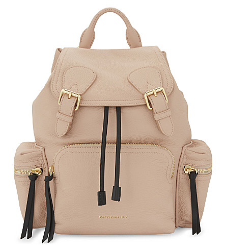 BURBERRY Logo leather backpack (Pale+apricot
