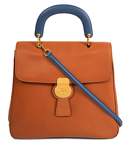 BURBERRY Portrait leather crossbody tote (Bright toffee