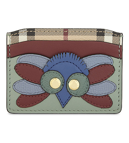 BURBERRY Izzy Owl leather card holder (Celadon+green