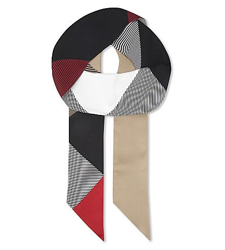 BURBERRY Double check mega skinny silk scarf (Camel