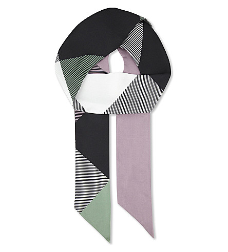 BURBERRY Double check mega skinny silk scarf (Pale+lilac