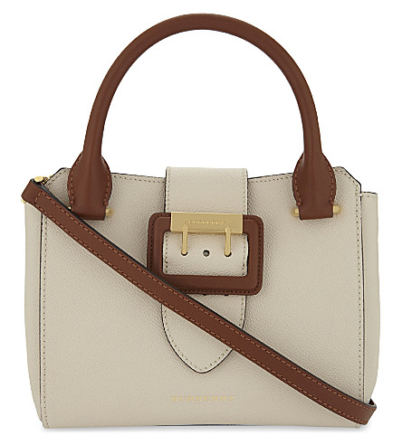 BURBERRY Buckle leather tote bag (Limestone+tan